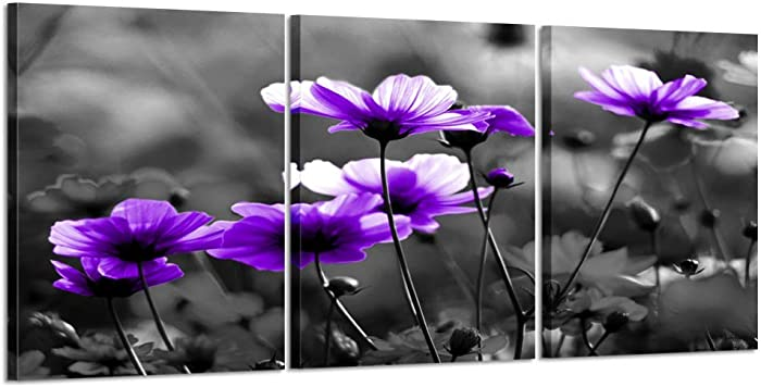 Kreative Arts Purple Flower Canvas Wall Art Elegant Wildflowers Black and White Background 3 Piece Canvas Pictures Blossom Contemporary Artwork for Home Decoration Dinning Room Kitchen Decor