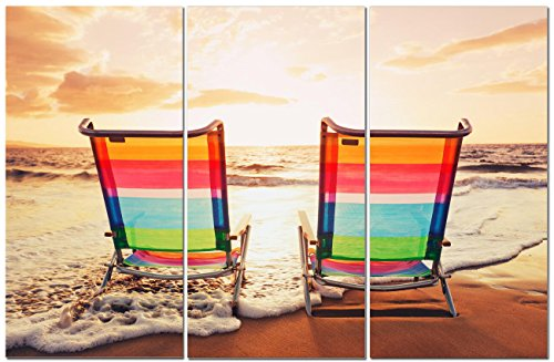 Canvas Wall Art Decor - 12x24 3 Piece Set - Coastal Beach Su