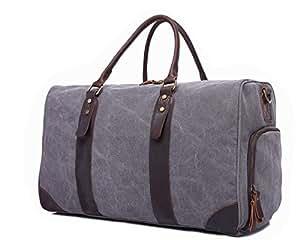 LIUFULING Travel Duffel Bag Large Capacity Canvas Bag Retro Portable Diagonal Bag with Shoe Pouch Unisex (Color : Gray, Size : L)