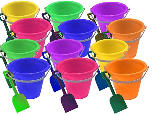 4E's Novelty 1 Dozen Beach Sand Pails and Shovels 7 inch, Assorted Colors, Sand Buckets for Kids, Sand Buckets Large, ()