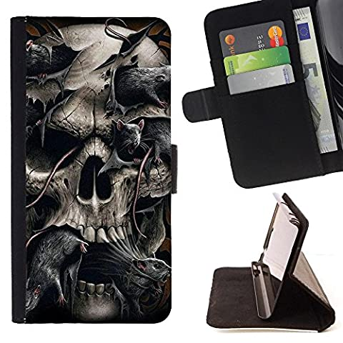 Planetar Colorful Pattern Flip Wallet Leather Holster Protective Skin Case Cover For Samsung Galaxy Note 4 IV / SM-N910 ( Skull Snake Rats Death Spooky (Note 4 Case Of Rats)