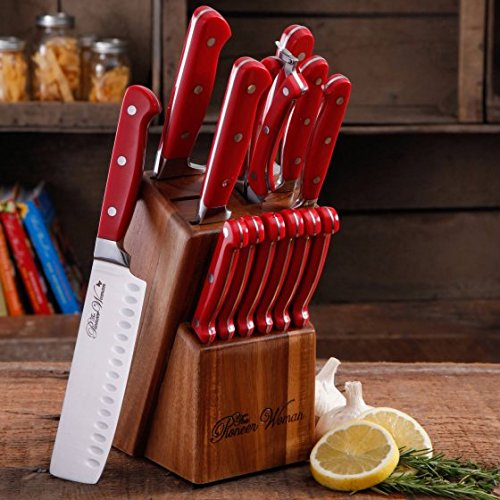 UPC 795663129051, Cowboy Rustic Cutlery Set, 14-Piece Cutlery Knife Block Set in Red