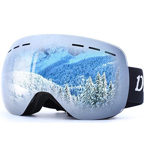 OTG Ski Goggles for Men Women, Detachable Dual Spherical REVO Lens UV400 Protection Anti Fog Skiing Goggle Over the Glasses for Snowboarding,Snowmobile Winter Snow Sport