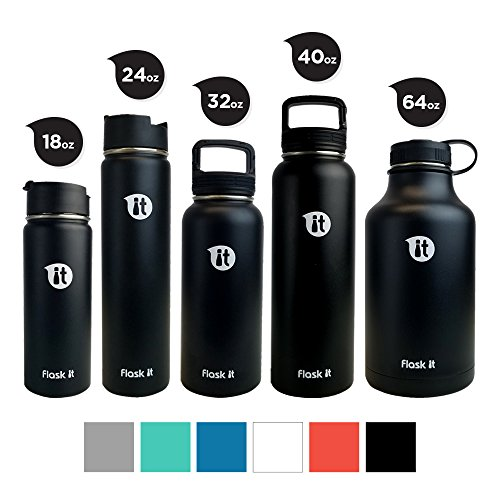 Flask It Insulated Bottle 2018 Wide Mouth Flat - Black 64 by Flask It