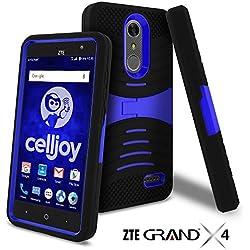 ZTE Grand X4 Case, ZTE Grand X 4 Case, CellJoy [Extreme Kickstand Armor] ZTE Z956 Dual Layer Hybrid [Heavy Duty] ((Shockproof)) {Rugged Grip Skin} Premium Protective Hard Case - Robot Cover (Blue)