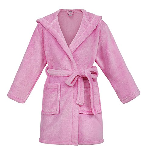 Girls Fleece Long Sleeved Robe (Girls Boys Kids Outdoor Pool Overup Beach Coverup Pink L)