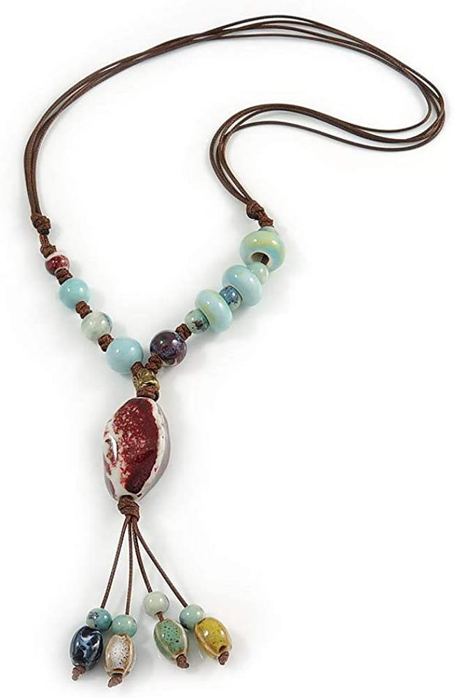 Wood Bead Ceramic Bead Corded necklace with Agate Pendant Large Bead Statment Necklace