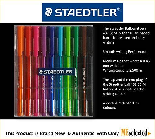 STAEDTLER Ballpoint Pen 432 35M 10 Colours Triangular Shape Classic Comfort Laser Pointer