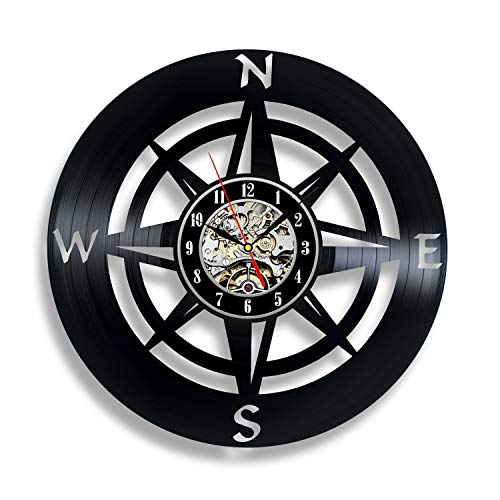 Compass Wall Clock Navigation Orienteering Sign Gift Personalized Bedroom Decor Ornament Travel Art Gifts Vinyl Vintage Decoration