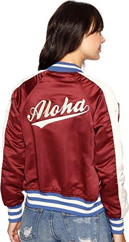BILLABONG Team Aloha Womens Bomber Jacket, Mystic Maroon, Medium