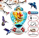 REZIPO Hummingbird Feeder with Perch – Hand Blown Glass – Blue – 38 Fluid Ounces Hummingbird Nectar Capacity Include Hanging Wires