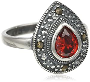 Sterling Silver Garnet Colored Cubic Zirconia Marcasite Ring, Size 8