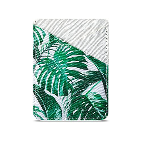 3M Adhesive Purse ID/Credit Card Holder,Multi-function Ultra Slim 2Card Slots Wallet Pocket Stick on Phone/Tablet Case Fits iPhone X/6/7Plus,Galaxy S9/A8/Note 8,Mate 10,LG G5 (Tropical Leaf+White) ()