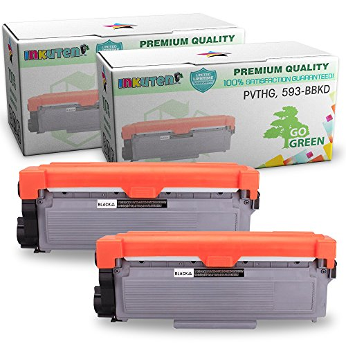 Dell E310dw, E514dw, E515dw, E515dn Series High Yield Toner Cartridges - (2 Black Toners) - Compatible Toner Cartridge Replacement - Dell PVTHG, 593-BBKD, P7RMX by INKUTEN