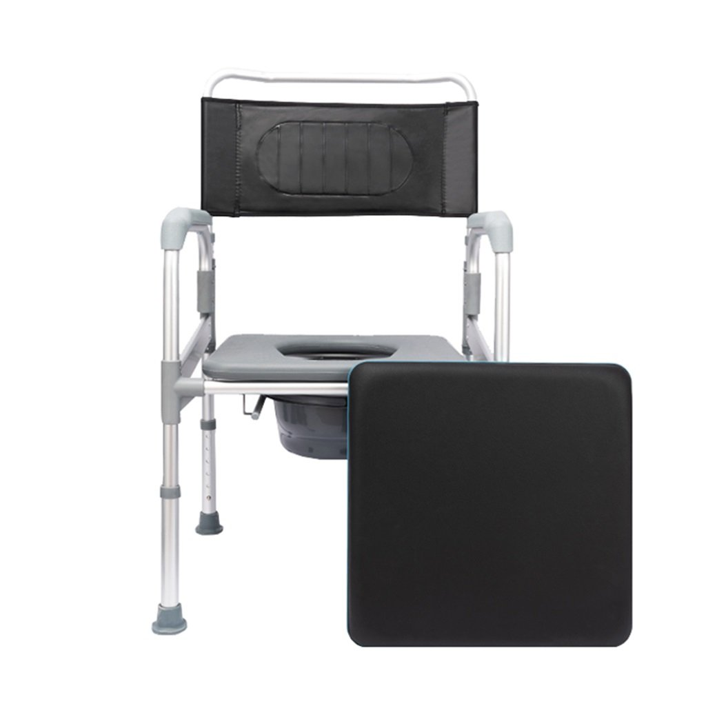 ポータブル高齢者アルミニウム合金の高さ調節可能な椅子の椅子は、障害のあるトイレの椅子を覆っています。滑り止めの手すり頑丈で耐久性のあるバスルームシャワースツールのバケツ妊娠した女性のトイレシートMax.200kg B07DKXT159