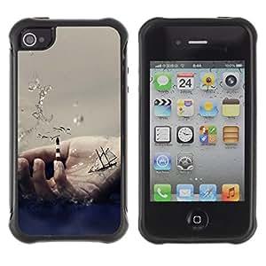 "Pulsar iFace Series Tpu silicona Carcasa Funda Case para Apple iPhone 4 / iPhone 4S , Mano Símbolo Océano Sea Waves VELERO"""
