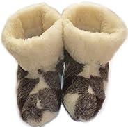 Wool Men's Grey Genuine Sheepskin Slippers Boots 100%