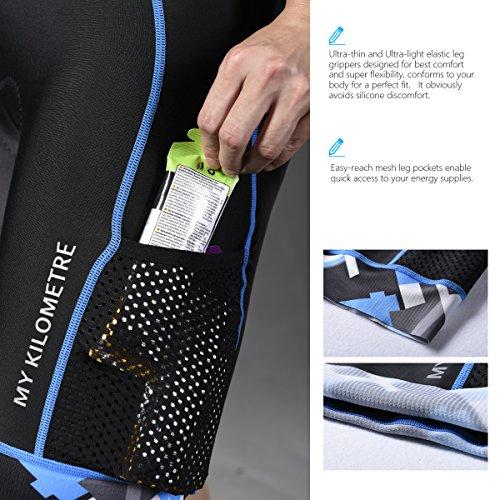 "KILO Triathlon Mens Shorts 9"" Black with Two Leg Pockets ,Chamois for Long distance Tri Race"
