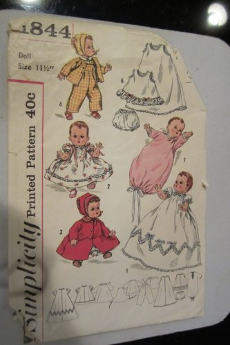 Simplicity 1844 Layette for Betsy Wetsy Tiny Tears Sewing Pattern Check Offers for Size