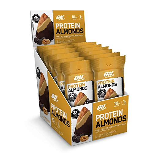 - Optimum Nutrition Protein Almonds Snacks, On The Go Nutrition, Flavor: Chocolate Peanut Butter, Low Sugar, Made with Whey Protein Isolate, 12 Count