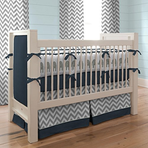 Carousel Designs Navy and Gray Elephants Crib Bumper by Carousel Designs (Image #3)