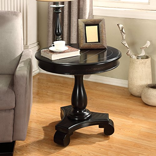 Roundhill Furniture Rene Round Wood Pedestal Side Table, black - Top Carved End Table