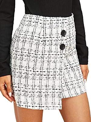 WDIRARA Women's Plaid Mid Waist Asymmetrical Hem Above Knee Elegant Short Skirt