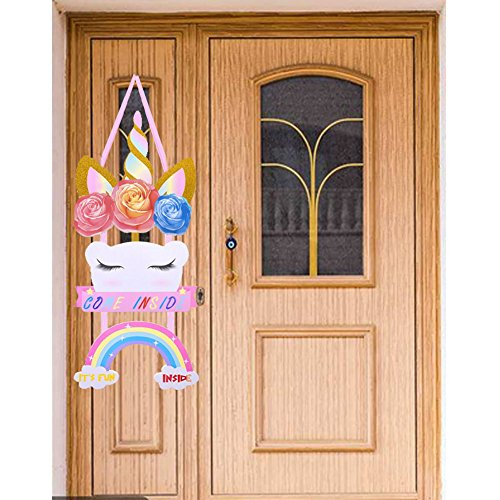 Favor Plaque Party Name (Bozoa Unicorn Birthday Party Supplies (Come Inside) - Rainbow Unicorn Welcome Door Sign,Room Plaque,Children's Bedroom Accessory Personalized Birthday Party Welcome Hanger)