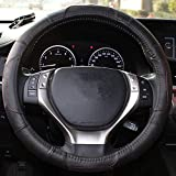 Mr.Dakai Odorless Luxury Genuine Leather Car Steering Wheel Cover-Nontoxic - Excellent Grip for vehicles,Suv (Small 13.5 to 14.5 inch, Black)