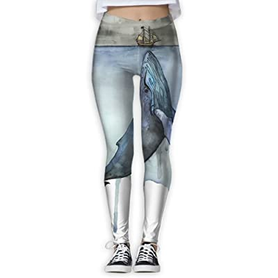 XDDFRTFF Women's Full-Length Yoga Pants 3D Printed Watercolor Whale Workout Leggings