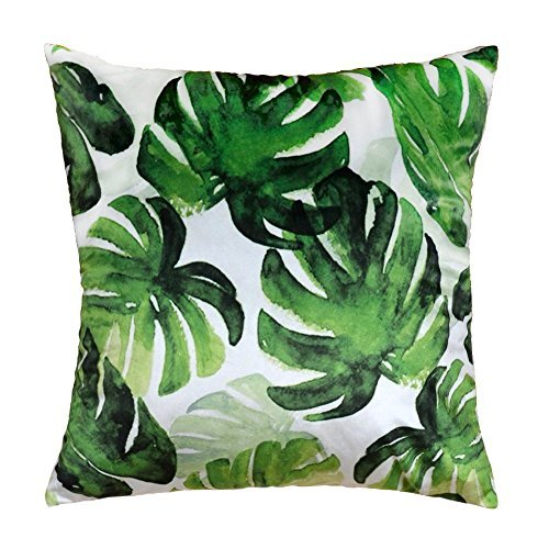 (JWH Accent Pillow Cases Tropical Rainforest Cushion Cover Leaf Print Pillowcases Home Bed Room Decorative Palm Tree Leaves 17 x 17 Inch)