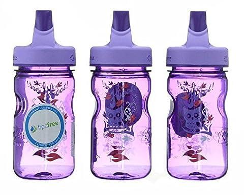 Nalgene Tritan Kid's Grip-n-gulp Water Bottle 12oz Purple Hoot Design 3 Pack 7.5 Inches Tall By 3 Inches in - Nalgene Grip N-gulp