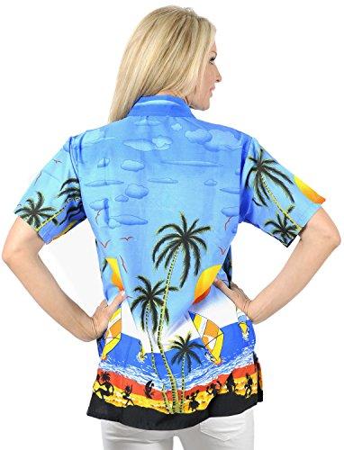 desgaste camisa hawaiana ropa de playa bot�n superior para mujer del collar de enfriamiento cortos de las se�oras de las mangas Azul