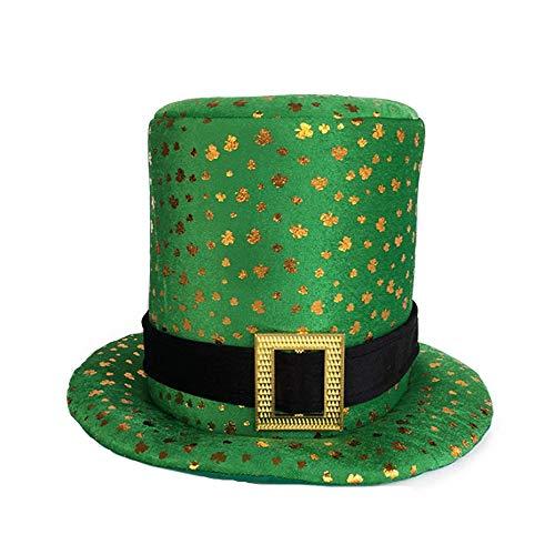 SCYTSD Irish Hat Festival Shamrock Green Carnival Hat Hot Stamping St Patrick's Day Irish Topper ()