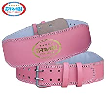 Farabi Pink Genuine Leather Weight Lifting belt for extreme powerlifting weightlifting workout gym training deadlift back Lumbar support cardio belt and back injury protector