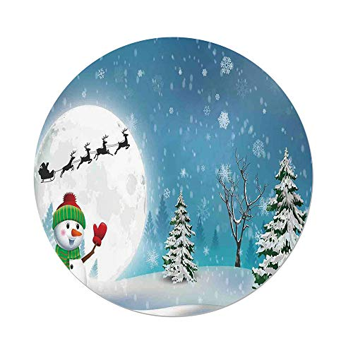 Full Moon Santa - iPrint Polyester Round Tablecloth,Christmas Decorations,Jolly Snowman under Full Moon Waving to Santa Reindeer Sleigh Kids,White Blue,Dining Room Kitchen Picnic Table Cloth Cover,for Outdoor Indoor