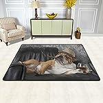 alaza English Bulldog with Cigar and Glass Area Rug Rugs for Living Room Bedroom 3'x2' 10
