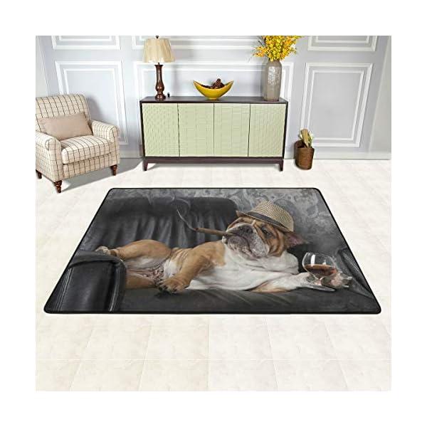 alaza English Bulldog with Cigar and Glass Area Rug Rugs for Living Room Bedroom 3'x2' 3