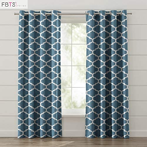 FBTS Basic Window Curtain 2 Panels 50 Blackout 52×102 Inch Dusty Blue Color Window Drapes with Grommet Top for Living Room Bed Room or Office