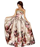 QueenBridal Women Strapless Off The Shoulder Floral Print Satin Prom Cocktail Party Dresses