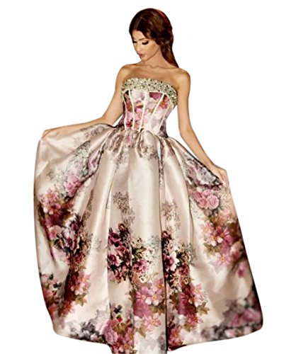 QueenBridal Women Strapless Off The Shoulder Floral Print Satin Prom Cocktail Party Dresses by QueenBridal