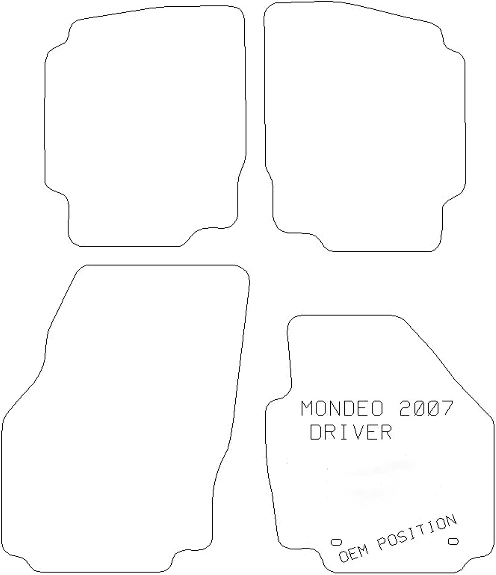 Nero Modelli dal 2007 al 2011 Colore Sakura-Tappetino Auto per Ford Mondeo