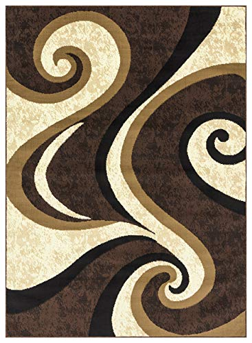 Princess Collection Geometric Swirl Abstract Area Rug, 5' 2