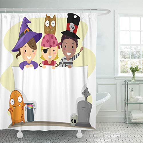 Emvency Shower Curtain 72x72 Inch Home Decor Bathroom Costume with Halloween Pirate Boy Cartoon Cartoon People Children Clip Shower Hooks Set are -