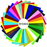 "GIO-FLEX PVC Heat Transfer Vinyl 10"" x 12"" - 33 Sheets HTV Assorted Colors Bundle/Variety Pack, Adhesive Vinyl, Iron-On Transfer, Heat Press, DIY Design for T-Shirts"