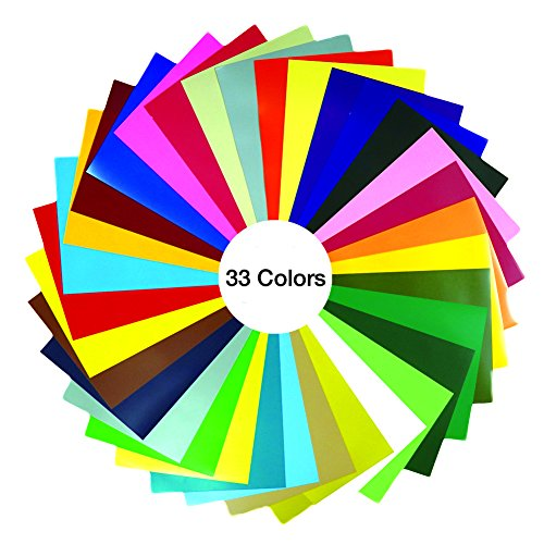 GIO-FLEX PVC Heat Transfer Vinyl 10'' x 12'' - 33 Sheets HTV Assorted Colors Bundle/Variety Pack, Adhesive Vinyl, Iron-On Transfer, Heat Press, DIY Design for T-Shirts by GIO-FLEX