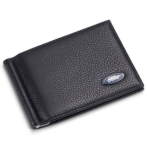 Ford Bifold Money Clip Wallet with 6 Credit Card Slots - Genuine Leather