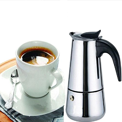 Generic 200 ML,4 Cup Moka Coffee Pot,Stainless Steel Stovetop Espresso Italian Coffee Maker Latte Percolator Stove Top Coffee Pot