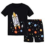 Hsctek Boys' Pajamas Set, Children' Short PJS, Kids' Cotton Sleepwear Clothes(5, Black Rocket 1)