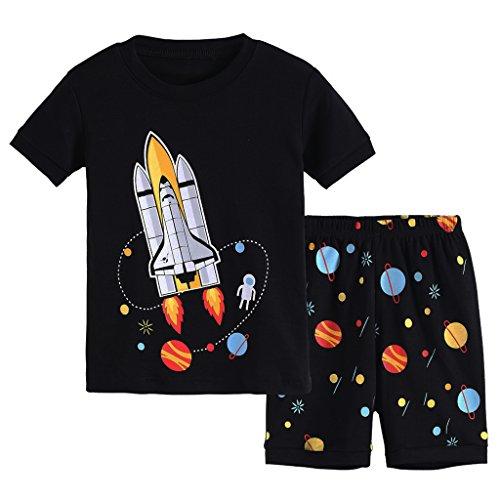 Boys Short Pj (Hsctek Boys' Pajamas Set, Children' Short PJS, Kids' Cotton Sleepwear Clothes(6, Black Rocket 1))
